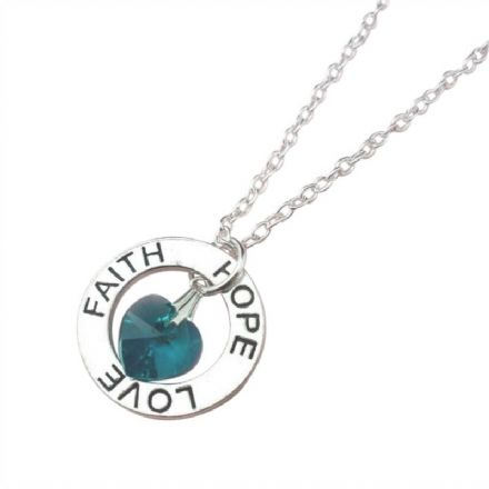Faith Hope Love Necklace with Birthstone Heart
